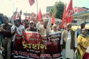 त्रिपुरा हिंसा-वामदलों ने किया प्रदर्शन